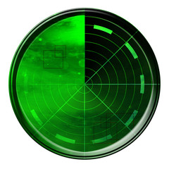 Green radar screen on a white background
