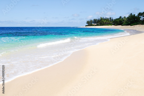 Tropical beach scene on a sunny day in Oahu, Hawaii
