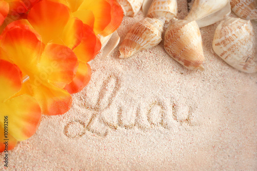 hawaiian beach background with words luau on  tropical sand