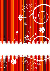 Abstract Floral Background with Text Box and Vertical Stripes
