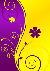 Floral Yellow-Purple Background with Text-box