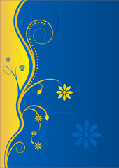 Floral Yellow-Blue Background with Text-box