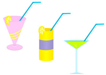 Illustration of three colored cocktail glasses
