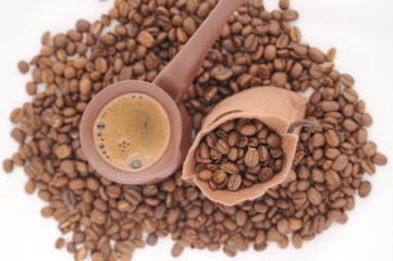 Lots of Natural Roasted Coffee Beans Background.