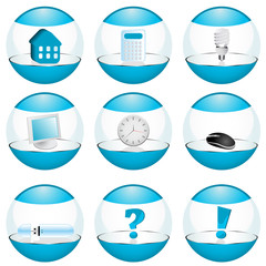 Illustration on different web elements in glossy spheres