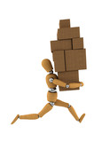 Wooden mannequin moving heavy boxes around poster