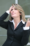 business woman worried about economic crisis poster