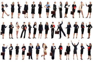 Smiling business women. Isolated over white background.