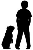 silhouette of boy standing with dog begging at his side poster