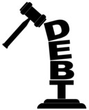 gavel hitting the word debt isolated on white poster