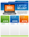 Clean design of laptop sale flyer poster