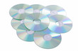 Leinwanddruck Bild - Silver Compact Discs isolated on a white background