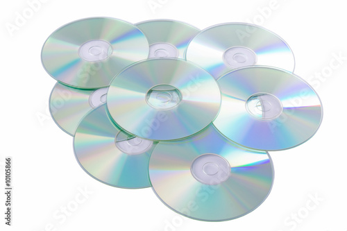 Leinwanddruck Bild Silver Compact Discs isolated on a white background