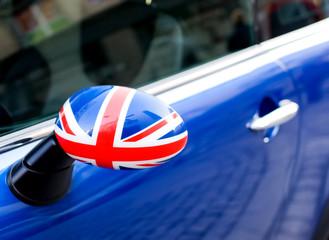 British Patriotism shown on car mirror