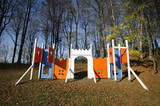Playground castle construction in autumn park in Zagreb, Croatia poster