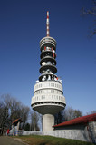 Tall transmitter tower on the mountain of Sljeme in Zagreb poster