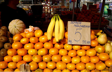 display of mandarines on traditional local market in Europe
