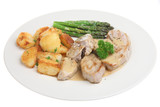 Pork medallions with sauteed potatoes and asparagus poster