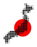 Karte und Fahne von Japan poster