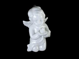 Engel aus Porzellan mit Friedenstaube