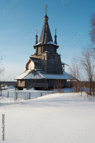 New wooden church in Povenets, Karelija, Russia