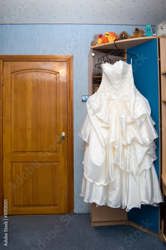 Wedding dress in a bride room