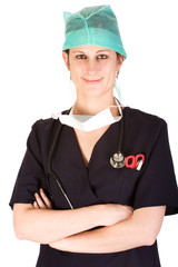 Young female healthcare professional wearing protective clothes