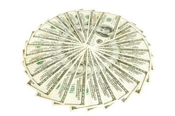 finances. big pile of money isolayed on white