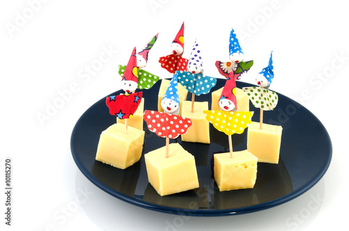 cheese with little clowns for children party