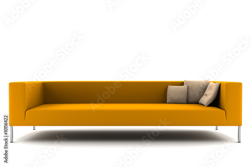 orange sofa isolated on white background