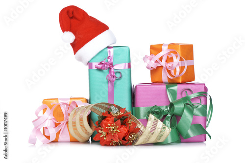 Gift boxes,shadow on white background. Shallow DOF