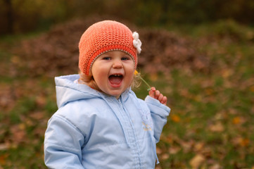 happy baby and autumn