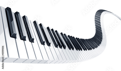 3d rendering of wavy piano keys - 10119006