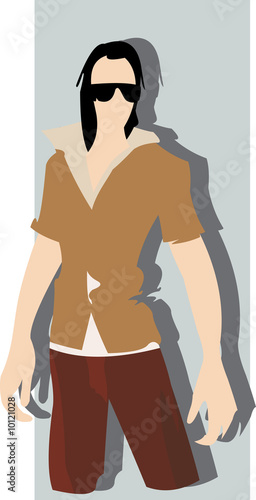 vector image of posing brunet