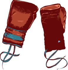 Vintage boxing gloves vector illustration
