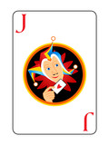 Sly harlequin head at the center of Joker playing card poster