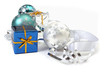 Christmas ornaments and gift boxes on white background