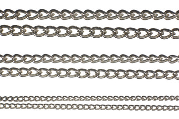 Close up of six shiny necklace strands isolated on white.