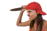 Profile of angry woman, holding a large knife as if to attack.