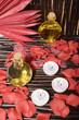 Leinwanddruck Bild Essential body massage oils and candles