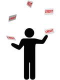 Symbol person juggles finances credit card debt poster
