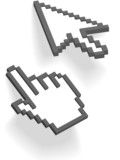 Pixel arrow hand 3D cursors point on shadows poster