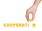 Hand and word Cooperation, business concept poster