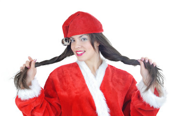 Beautiful lady with long hair in red Santa costume