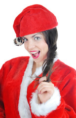 Glad and merry woman in the red Santa Claus costume