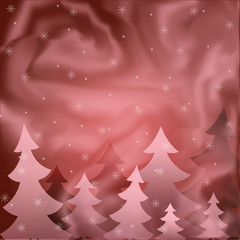 The background showing fur-trees under a snowfall. In red tone