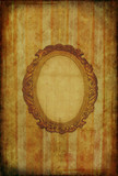 Vintage floral grunge wallpaper with oval frame poster