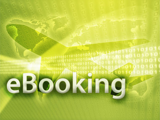 Online travel, illustration of electronic booking reservation