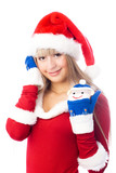 pretty blond girl dressed as Santa wearing funny mittens poster