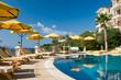Leinwandbild Motiv Poolside at a resort in the Turkish Mediterranean.